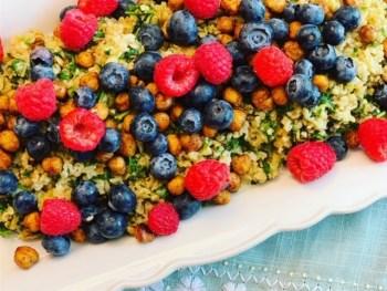 Lemon Mint Freekeh Salad with Summer Berries