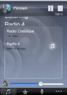 FStream Internet radio on iPhone