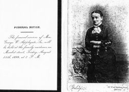 Anna M. Van Zandt funeral notice, 08/25/1899
