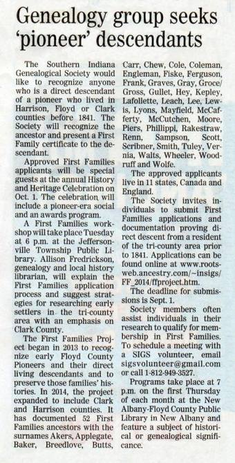 Article about Applegate pioneers.