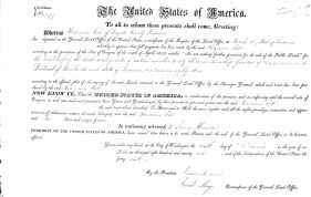 Certificate showing land purchased by Benjamin Cole in 1821.