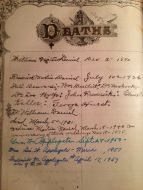 Deaths recorded in Dr. Wm Daniel's family bible