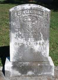 Headstone of Dr. John Daniel, 1864-1889. Son of Wm S. and Catherine Russell Daniel. Buried in Milltown, Indiana.
