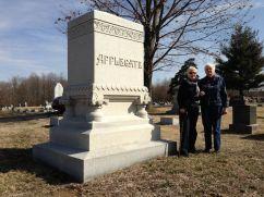 Grace and cousin Betty Buchanan at Corydon's Cedar Hill Cemetery, 2013