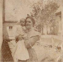 Grace Daniel Applegate (Bobbie) holding her first son, G. W. Applegate III (Uncle Pud), summer of 1900.