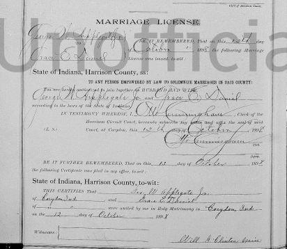 George William Applegate II and Grace Daniel, marriage license, Oct. 1898