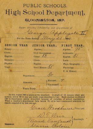 Report card of Papa (G. W. Applegate II), 1893