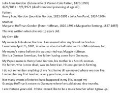 """""""My Own Life"""" written by Julia Anne Gordon in 1894. She was maternal grandmother of the Applegate girls."""