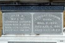 Julia Pond and Leonidas Gordon headstone