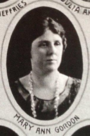 Mary Ann Gordon 1906-1985 (illegitimate daughter of Henry Pond Gordon; he married her mother after divorce from Margaret Hoffman Gordon)