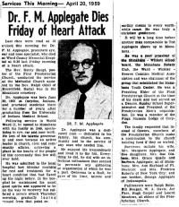 Ted's obituary, April 1959