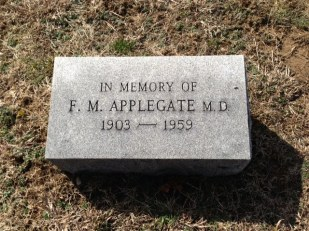 Ted Applegate memorial stone in Corydon's Cedar Hill Cemetery