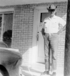 Ted in front of his office, May 1952, Monahans