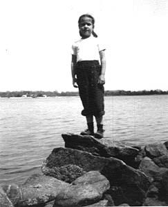 Barb on beach, Long Island Sound, Stamford, Connecticut, 1948