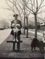 Ted holding Rica, Fort Bliss, TX, 1943