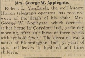 Anna Van Zandt Applegate (1847-1899) death notice