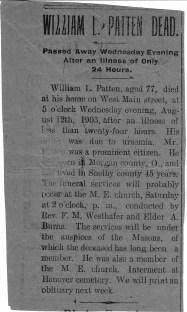 William L. Patten obituary, 1903