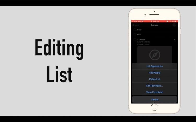 iOS 13 Reminders-Editing Reminders List