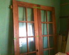 These French doors, $70, from Construction Junction, go into the kitchen from the mudroom.