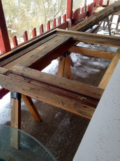 On sawhorses for Mr. H.C. to cut it down to size