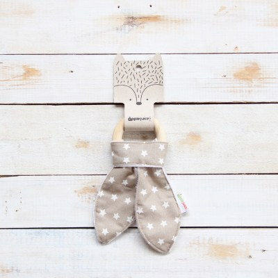 Wood and fabric baby teethers