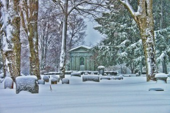 winter snow at cemetary