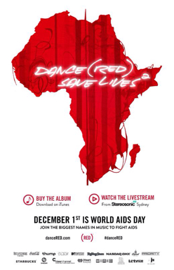 (RED) Brings Together The World's Biggest DJs + Pop Artists To Release DANCE (RED) SAVE LIVES(2) On iTunes November 25, 2013. (PRNewsFoto/(RED))
