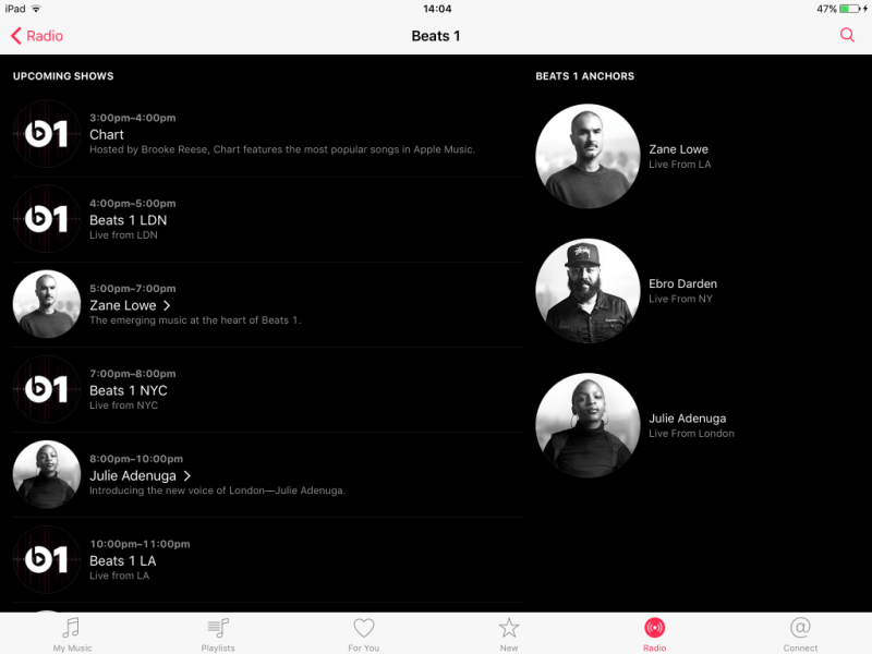 Beats 1's Live Radio Schedule Now More Visible in Music App