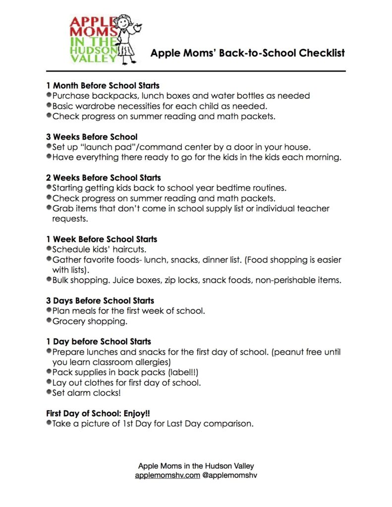 Our Back to School Checklist - Apple Moms in the Hudson Valley