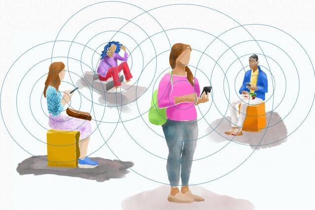 Иллюстрация отслеживания контактов Bluetooth. Кредит: MIT