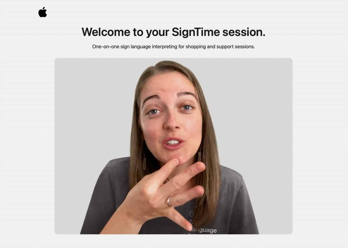 Снимок экрана интерфейса SignTime на веб-сайте Apple.