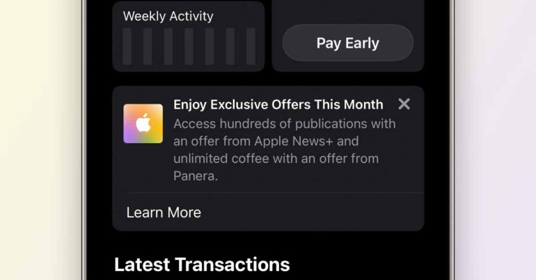 Apple продвигает свои услуги с помощью «эксклюзивных предложений» для пользователей Apple Card