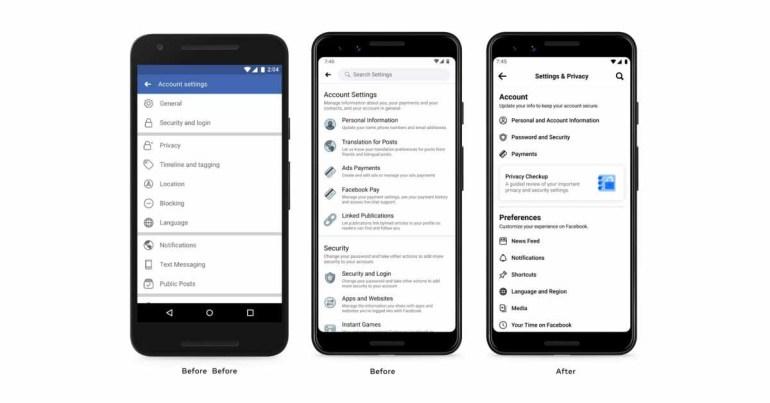 В приложении Facebook переработано меню настроек с упрощенными опциями