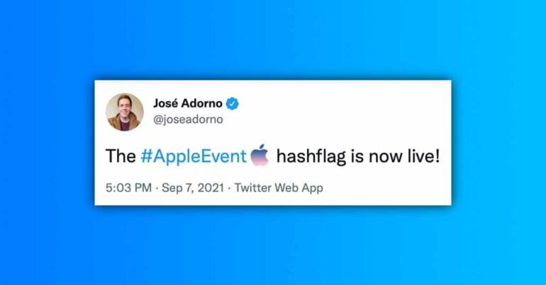 Хэш-флаг iPhone 13 #AppleEvent теперь доступен в Твиттере после официального объявления