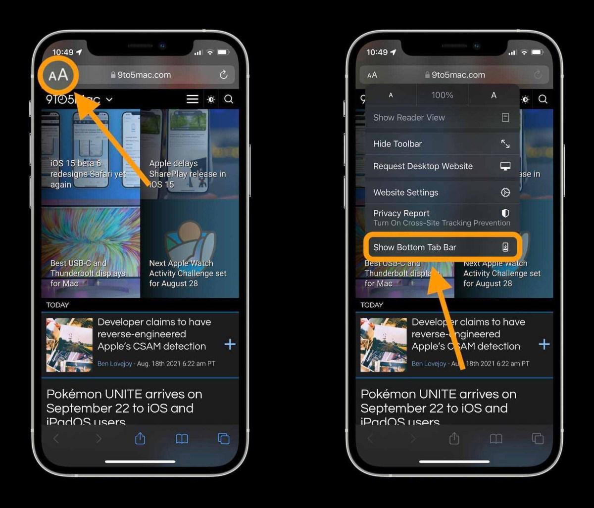 Как изменить изменить адрес / панель поиска iOS 15 Safari на iPhone, пошаговое руководство 2 - коснитесь значка A в верхнем левом углу в строке адреса / поиска и коснитесь «Показать нижнюю панель вкладок»