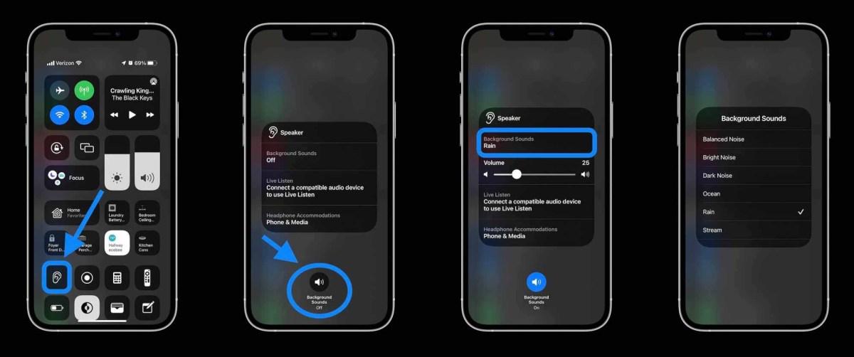 Как использовать фоновые звуки iPhone в Центре управления iOS 15