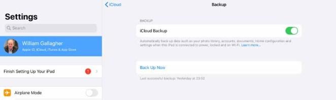 Сделайте резервную копию вашего старого iPad в iCloud