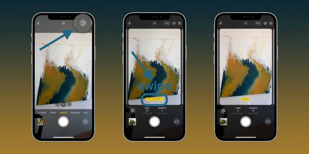 Пошаговое руководство по использованию фотографических стилей iPhone 13 - изменение в приложении« Камера »со значком в виде тройного квадрата