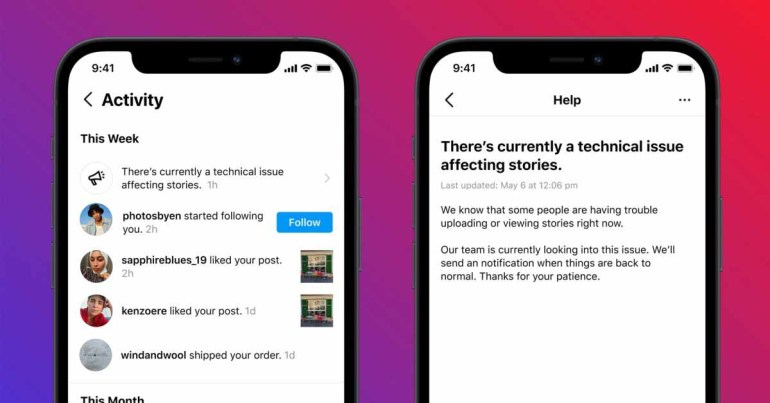 Instagram тестирует оповещения о сбоях после инцидента с его серверами
