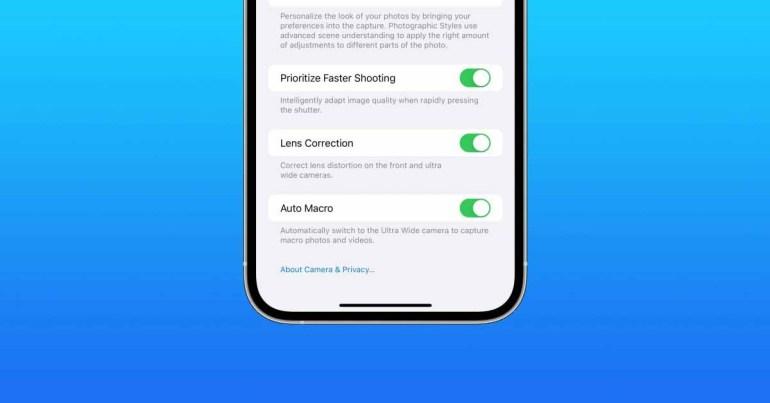 iOS 15.1 beta 3 добавляет новый переключатель «Auto Macro» для отключения переключения камеры