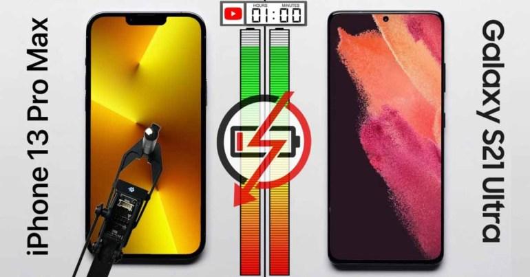 iPhone 13 Pro Max опережает Samsung Galaxy S21 на 2,5 часа в комплексном тесте батареи