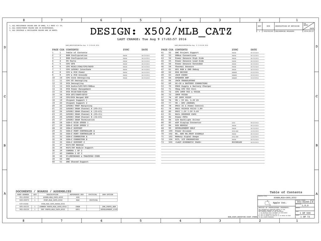 Apple Macbook Pro 13 A X502 Mlb Catz 820 051