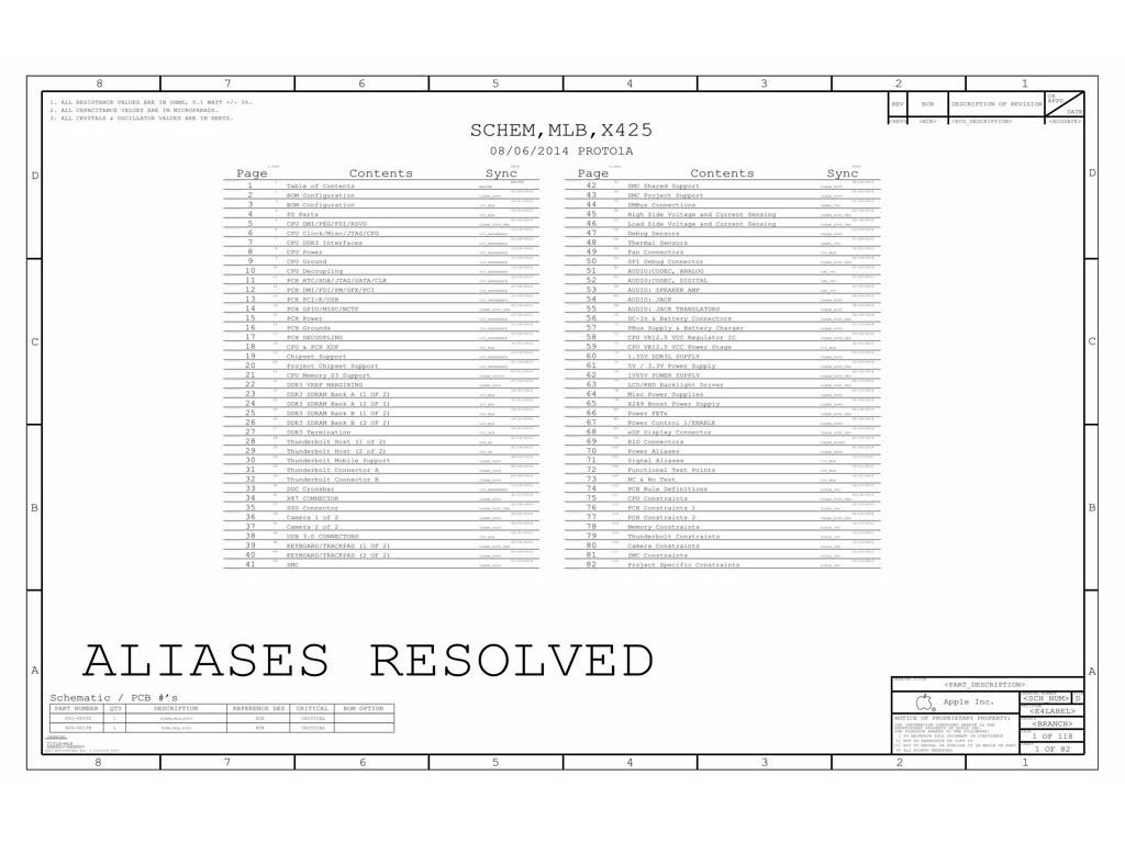 Apple Macbook Pro Retina 15 A Schematic X425 Mlb
