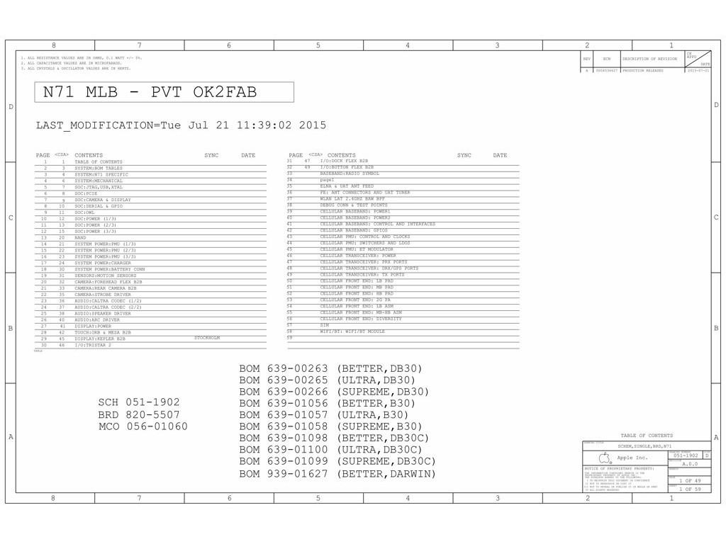 Apple N71 Mlb Pvt Ok2fab 820 051 Schematic