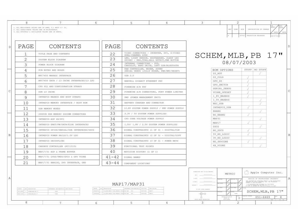 Apple Powerbook G4 17 A Logic Board Schematic Schem