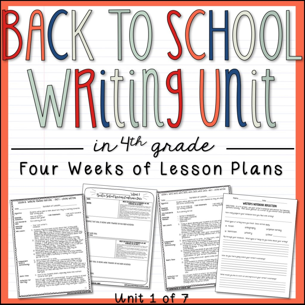 Back to School Writing Unit for 4th Grade