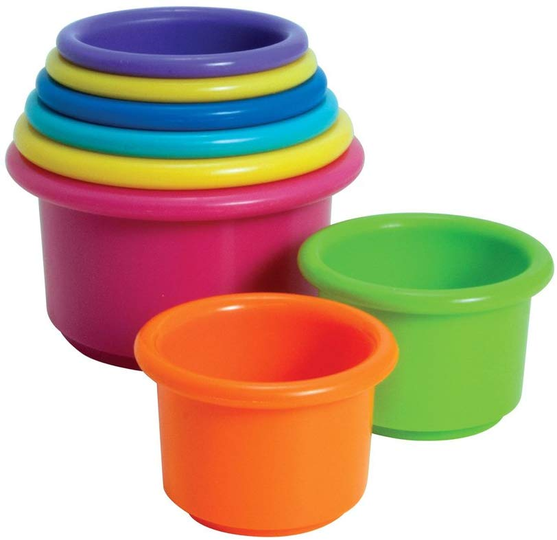 8 and 9 month Holiday Gift Guide. Perfect gifts for a 32 to 40 week old baby. Stacking cups perfect for little hands.