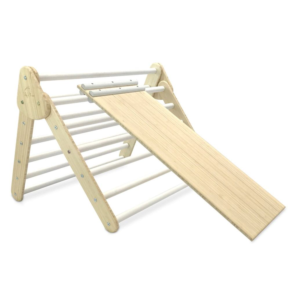8 and 9 month Holiday Gift Guide. Perfect gifts for a 32 to 40 week old baby. The Pikler Triangle is amazing for climbing and crawling.