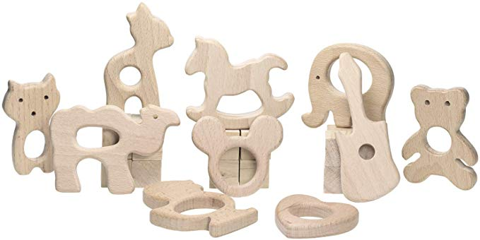 Gifts for Babies 2 and 3 months old, wooden rattles and teethers