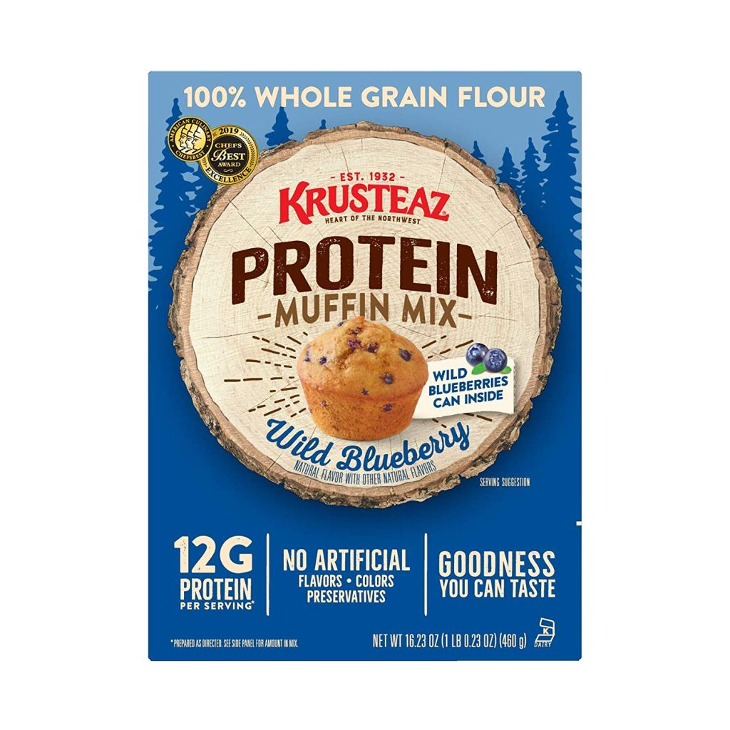 Delicious blueberry muffins with extra protein from Krusteaz